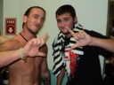 "Greene and ""The Juice"" JT Dunn following his first NCW match in 2012."