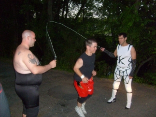 """Jumping rope w/ Dean """"The Beast"""" and Brandon Webb (2009)"""