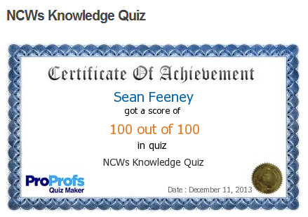 I don't know if Sean Feeney deserves ANY milkshakes since he clearly cheated in the NCW Knowledge Quiz
