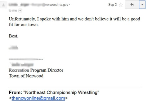Our e-mail received from the Norwood Rec Dept.