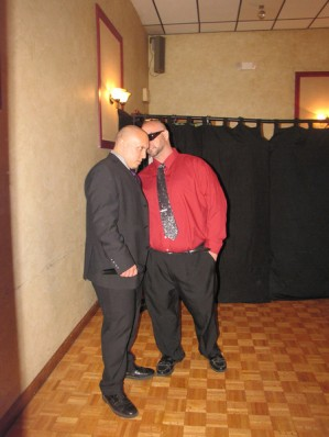 "NCW Commissioner Dean ""The Beast"" Livsley and special REUNION host Chris Venom share a moment."