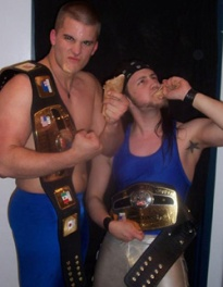 The new NCW Tag Team Champions The Maine State Posse (Alex Chamberlain & Scotty Vegas) celebrate their victory with burritos.