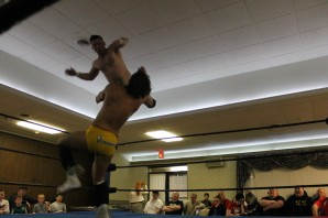 Jon Thornhill dives onto Scott Levesque - NCW REUNION